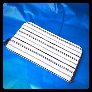 Black & white faux leather wallet NEW clutch